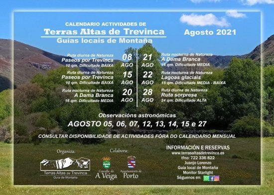 calendario actividades agosto 2021 TERRAS ALTAS DE TREVINCA
